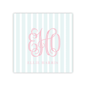 Blue Stripe Pink Monogram Enclosure Card