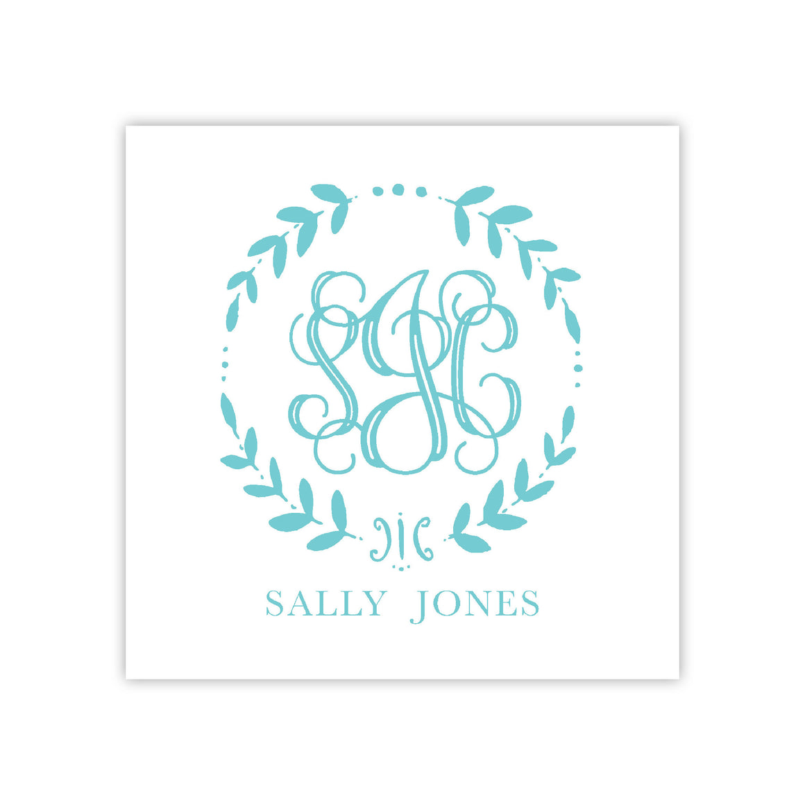Vine Wreath Monogram Enclosure Card