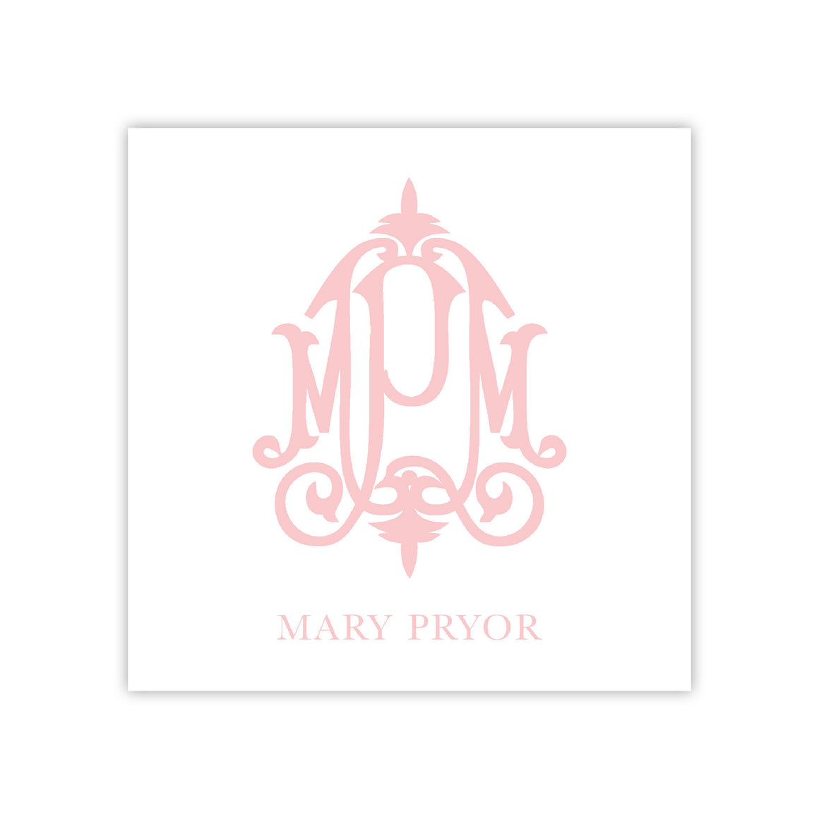Pink Modern Monogram Enclosure Card