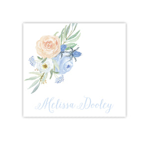 Blue and Peach Watercolor Floral Enclosure Card
