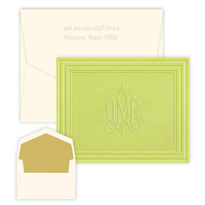 Green Embossed Monogram Stationery