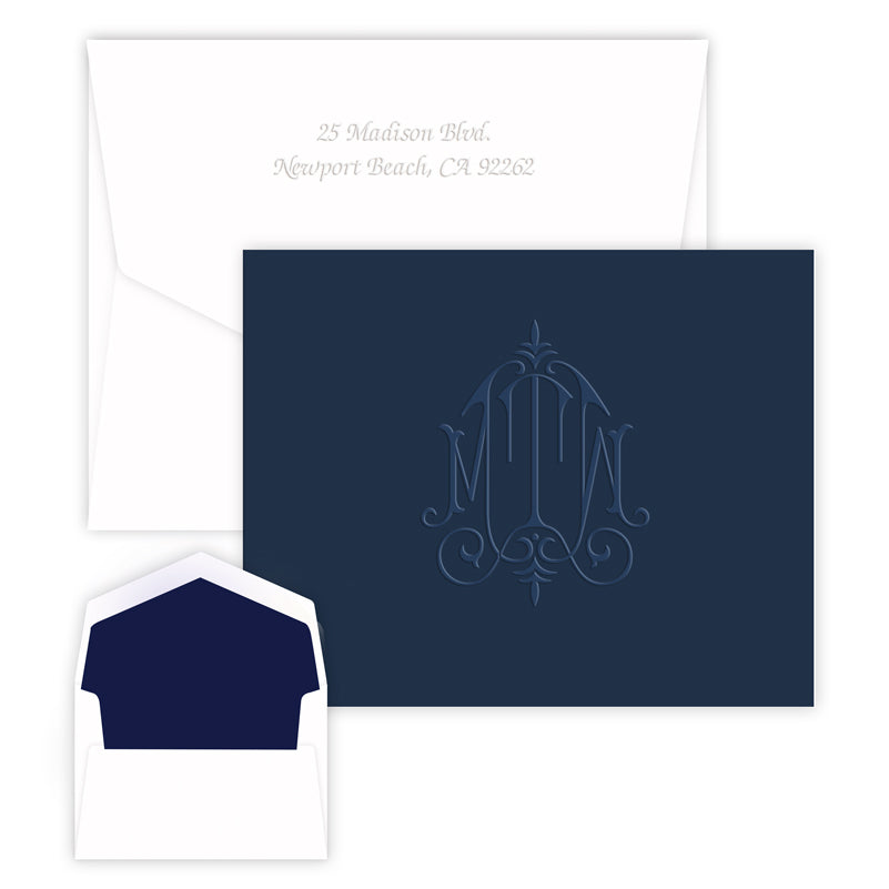 Navy Embossed Monogram Stationery