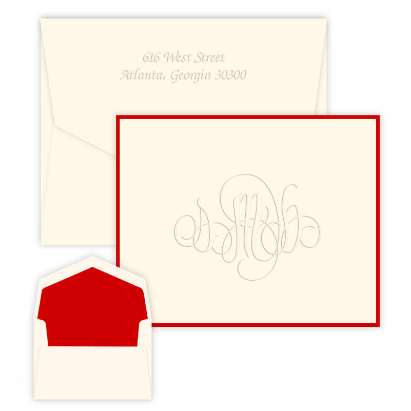 Embossed Outlined Monogram Stationery