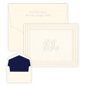 Embossed Bordered Monogram Stationery