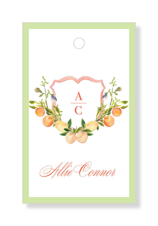 Peach Monogram Crest Gift Tags