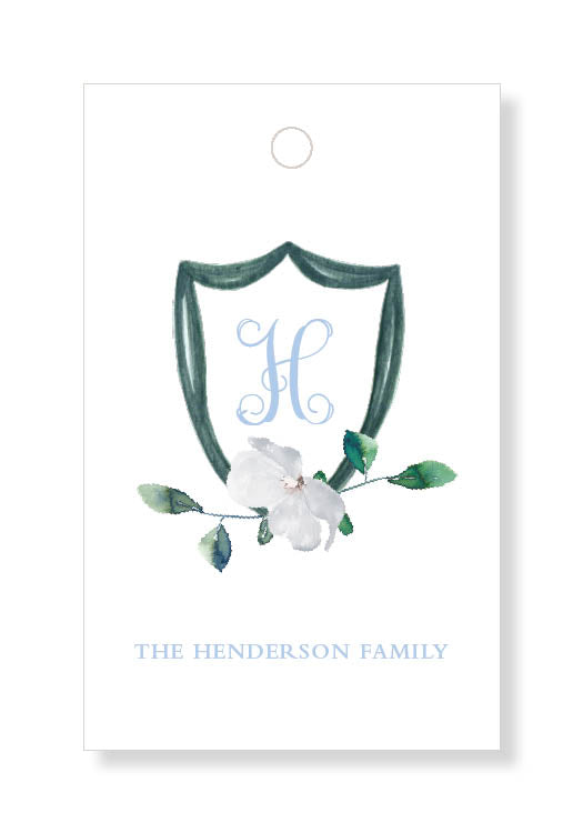 White Blossom Crest Gift Tags