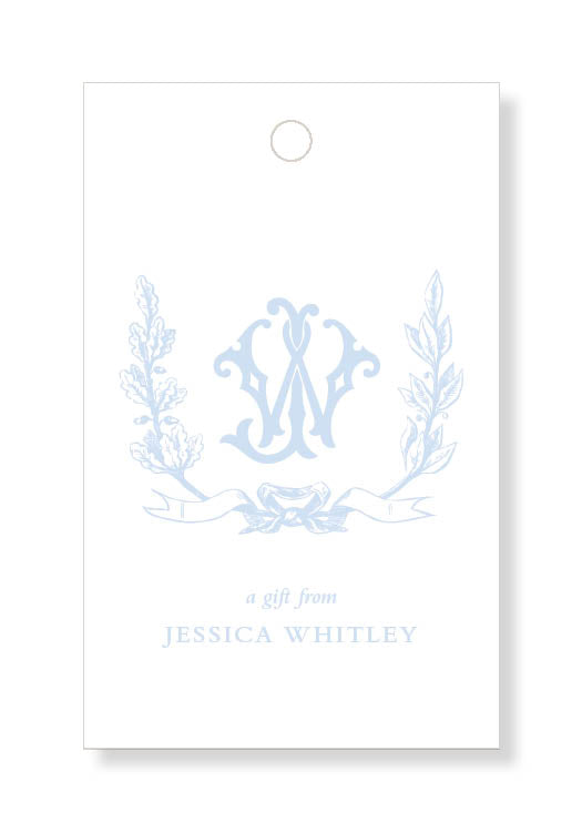 Foliage Crest Monogram Gift Tags