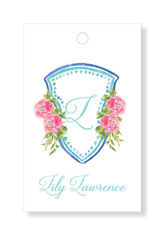 Coral Peony Crest Gift Tags