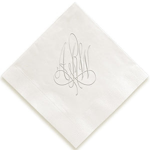 Calligraphy Embossed Personalized Napkins