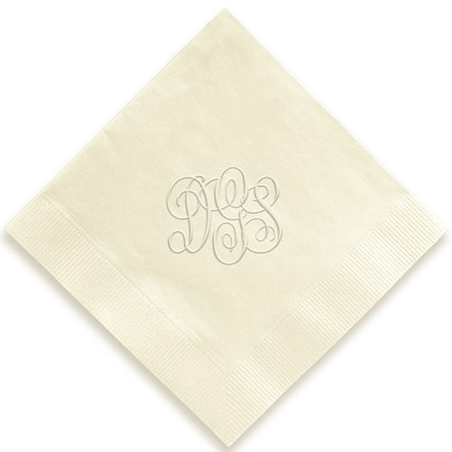 Traditional Monogram Embossed Napkins