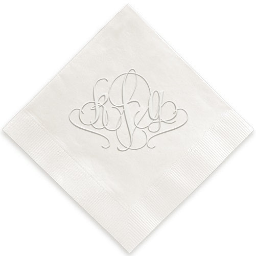 Lowercase Swirl Monogram Embossed Napkins