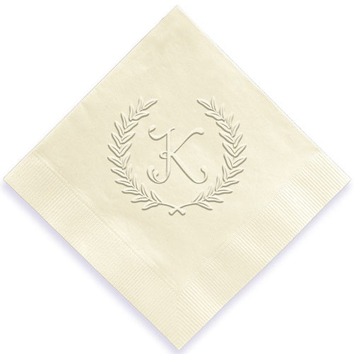 Wreath Initial Embossed Napkins