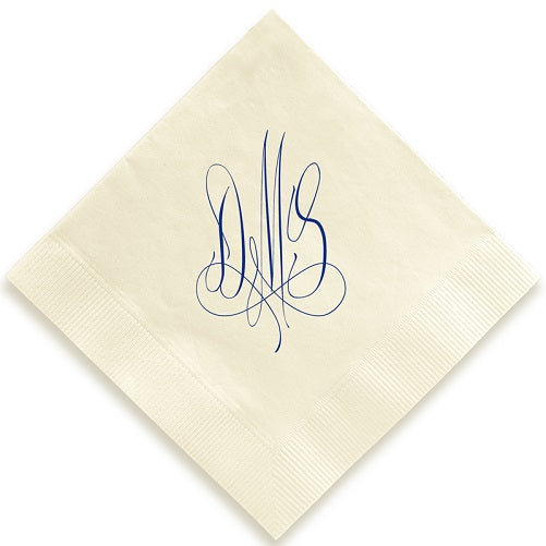 Calligraphy Monogram Foil Pressed Napkins