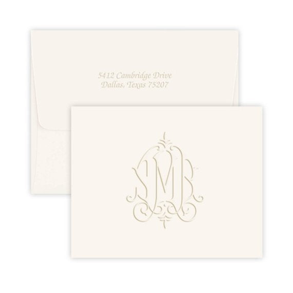 Embossed Modern Monogram Stationery