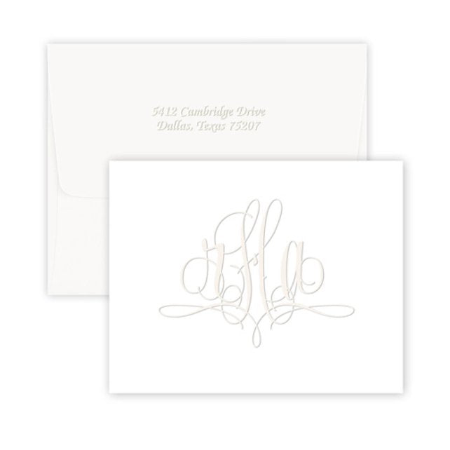 Embossed Fancy Monogram Stationery