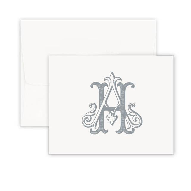 Thermography Vintage Monogram Note Card