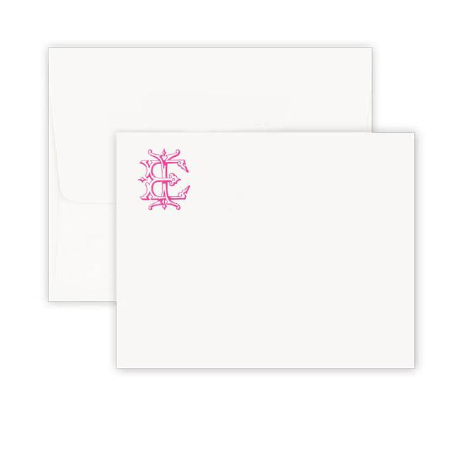 Thermography Vintage Monogram Corner Note Card