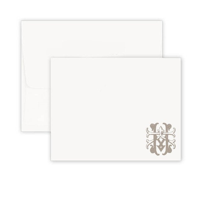 Thermography Vintage Monogram Bottom Corner Note Card