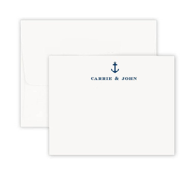 Thermography Anchor Away Corner Note Card