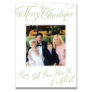 Merry Calligraphy Green Holiday Card