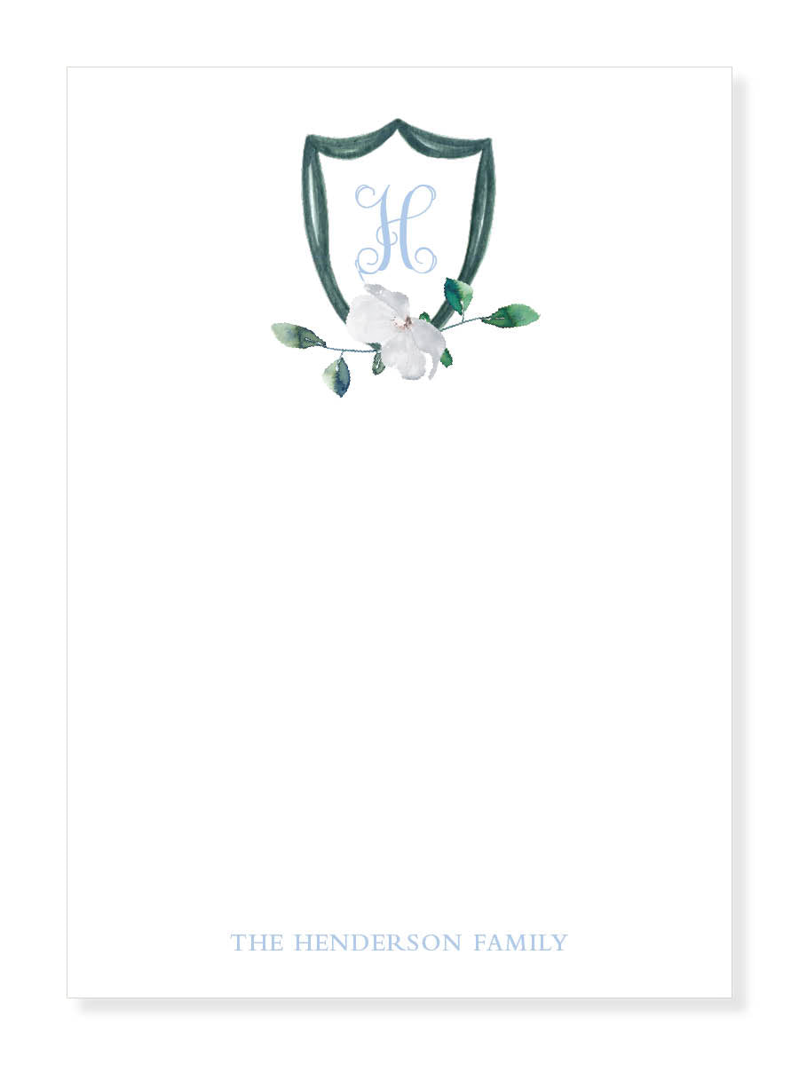 White Blossom Crest Notepad