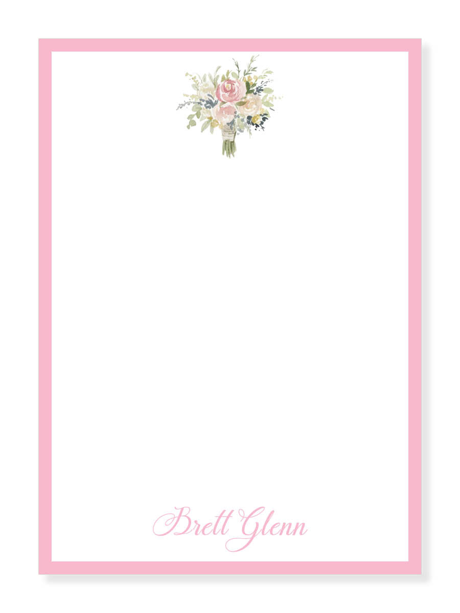 Bouquet and Pink Notepad