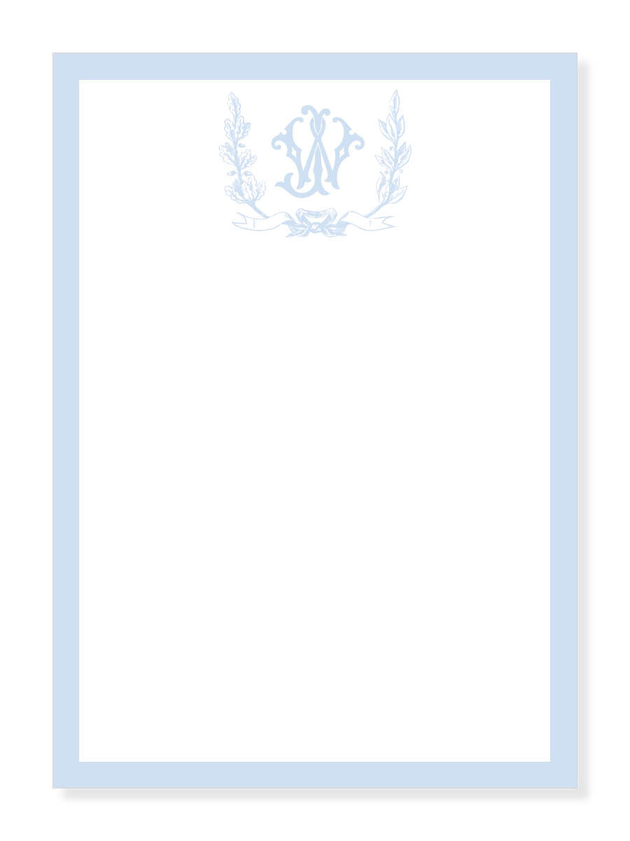 Foliage Crest Monogram in Blue Notepad