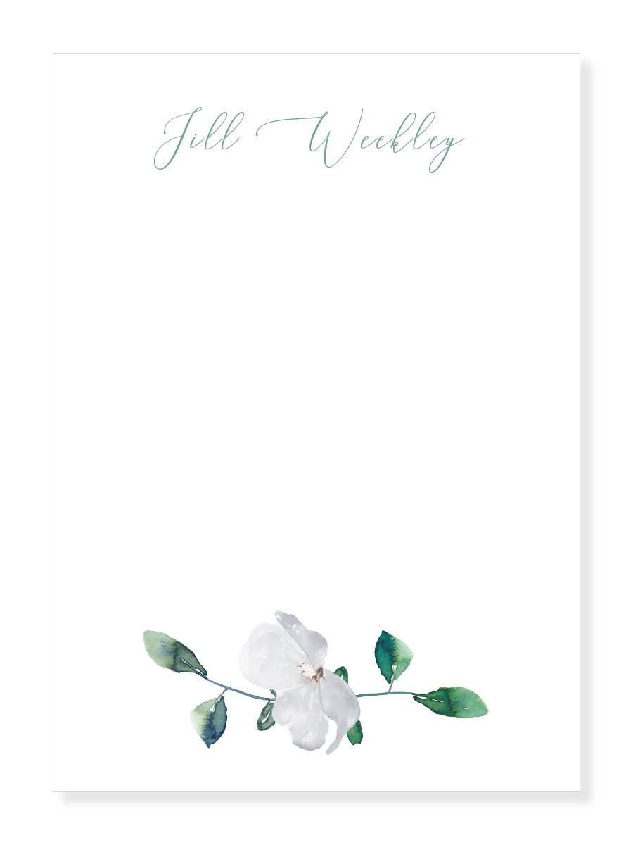 Green and White Floral Notepad