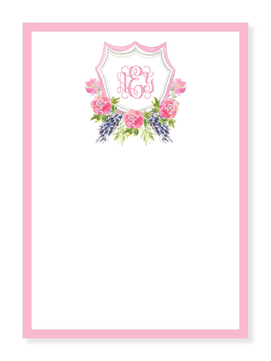 Pink Peony Crest Notepad