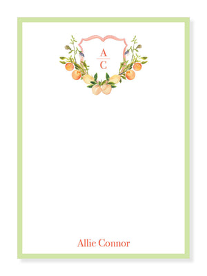 Peach Monogram Crest Notepad