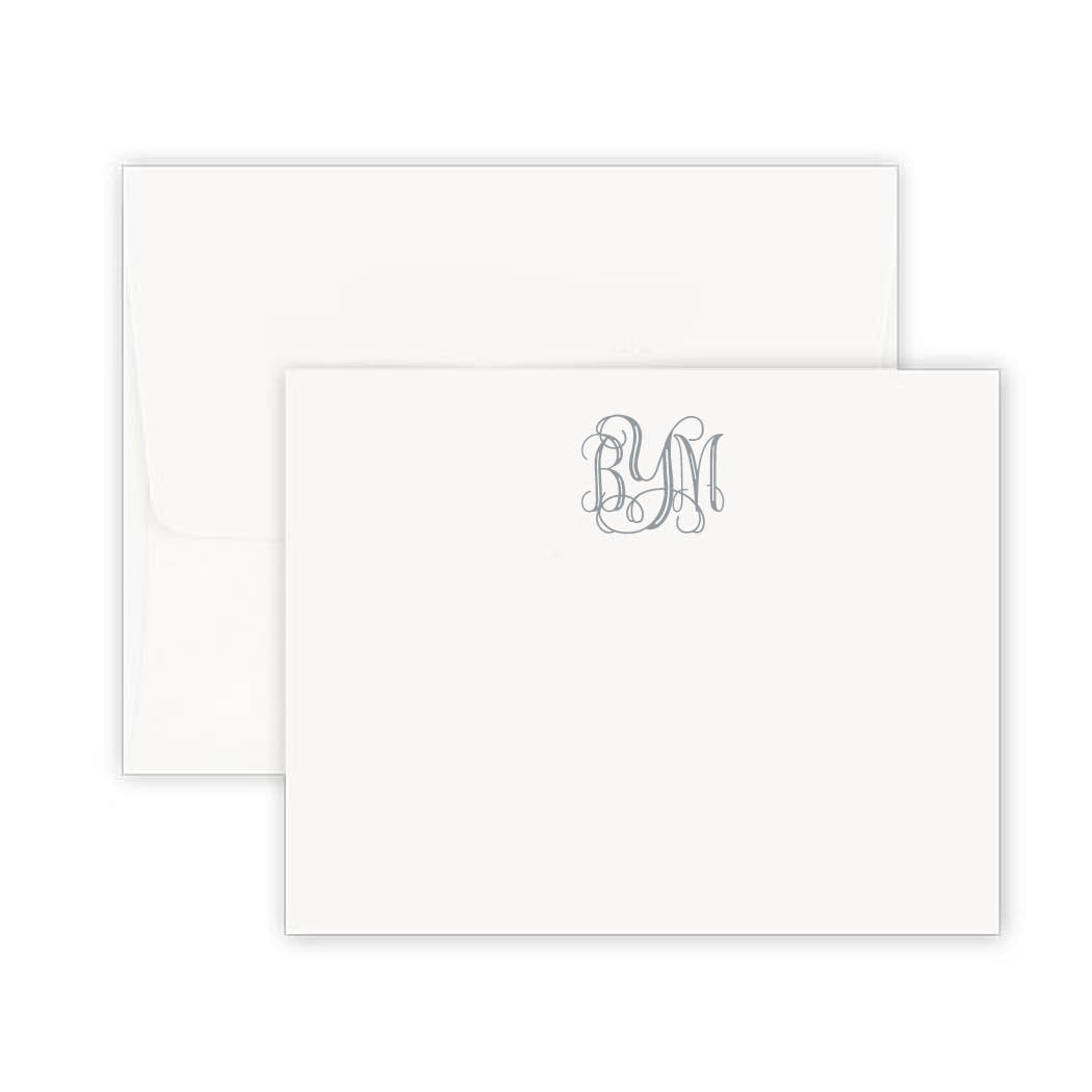 Thermography Classic Monogram Note Card
