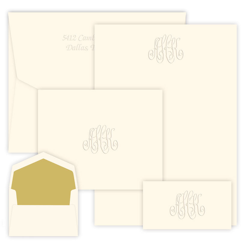 Embossed Monogram Stationery Wardrobe