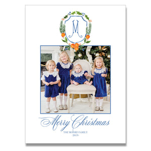 Citrus Crest Vertical Holiday Card