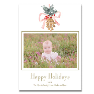Pinecone Mistletoe Holiday Card