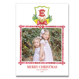 Pinecone Monogram Vertical Holiday Card