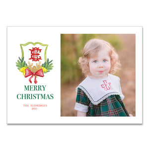 Pinecone Monogram Crest Holiday Card