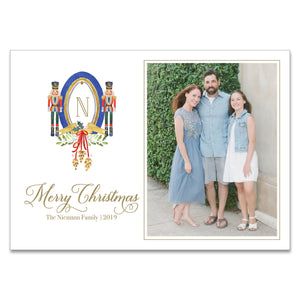 Jingle Bell Nutcracker Crest Holiday Card