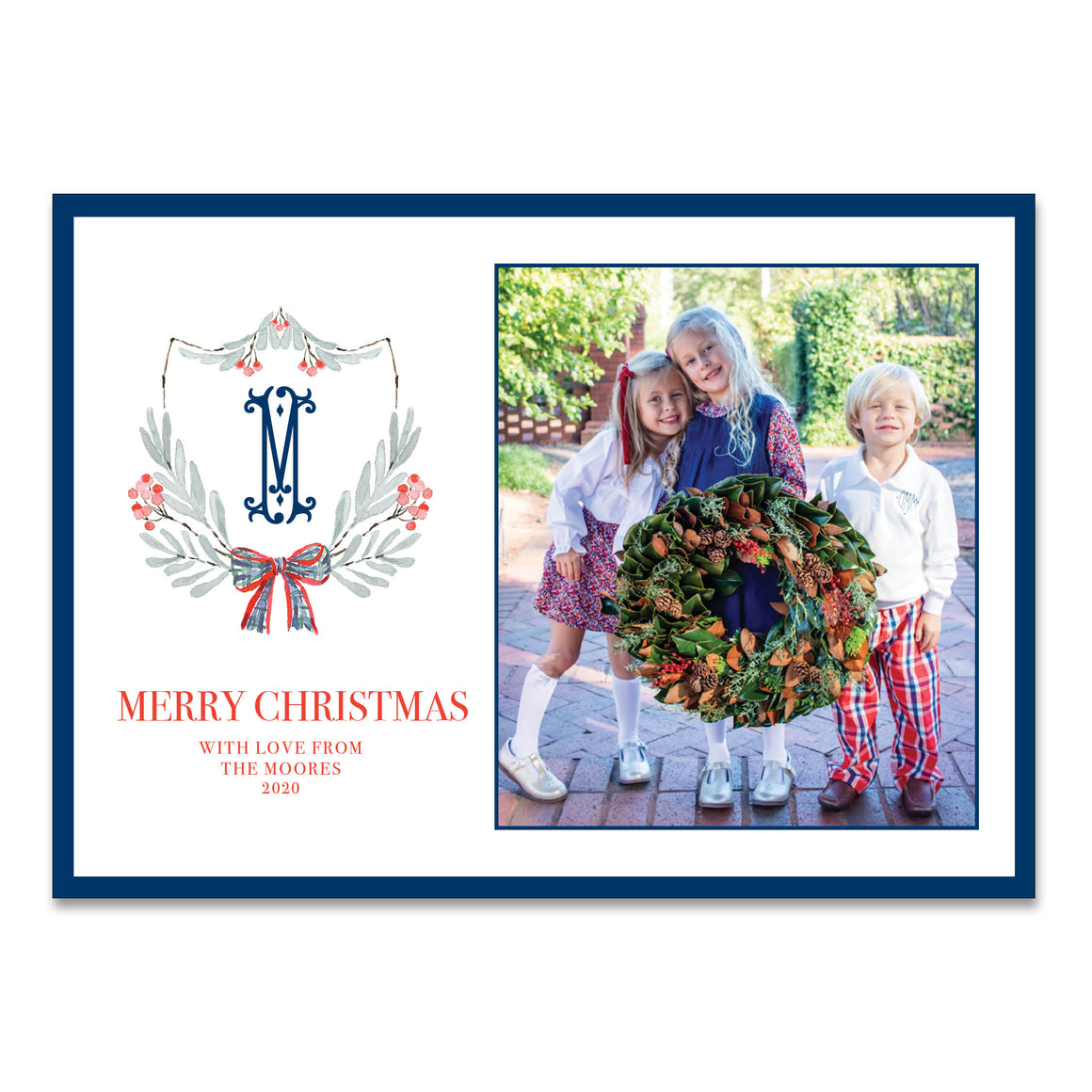 Plaid Bow Crest Holiday Card