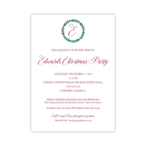 Merry Monogram Holiday Invitation