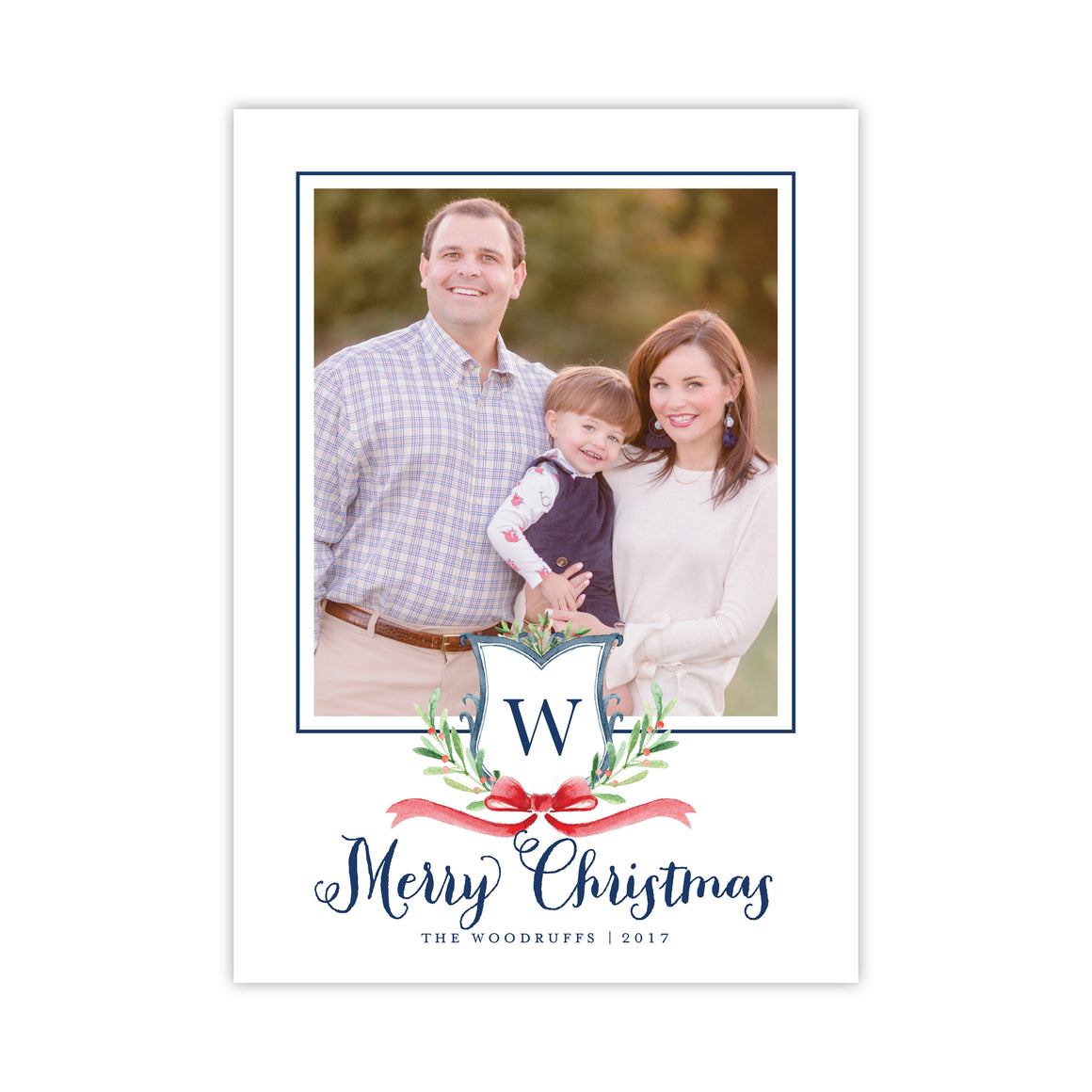 Berry and Sprig Watercolor Crest Holiday Card
