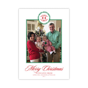 Preppy Monogram Wreath Merry Christmas Holiday Card