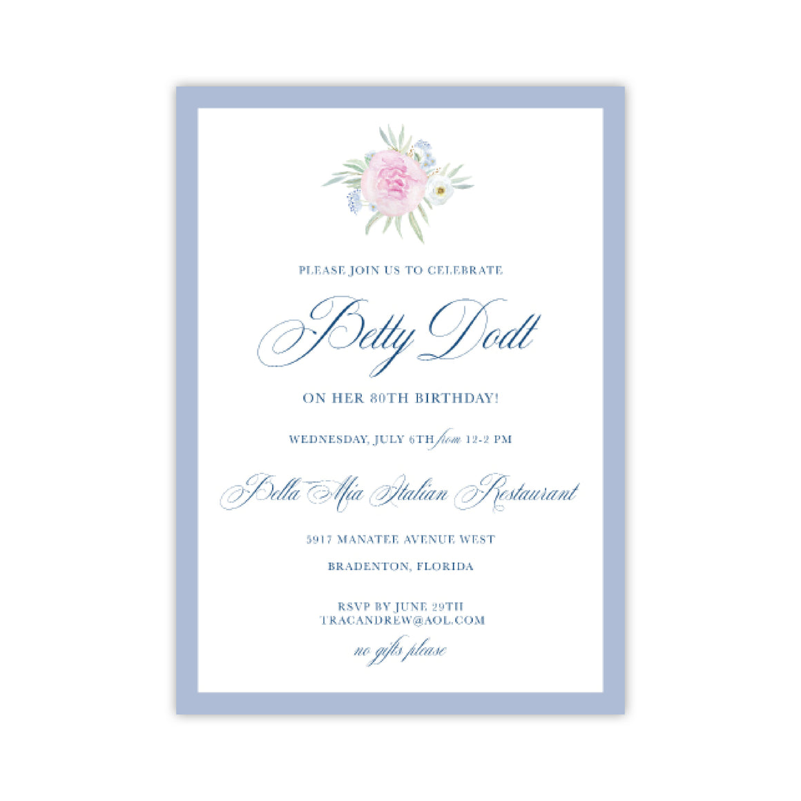 Pink Watercolor Flower Invitation