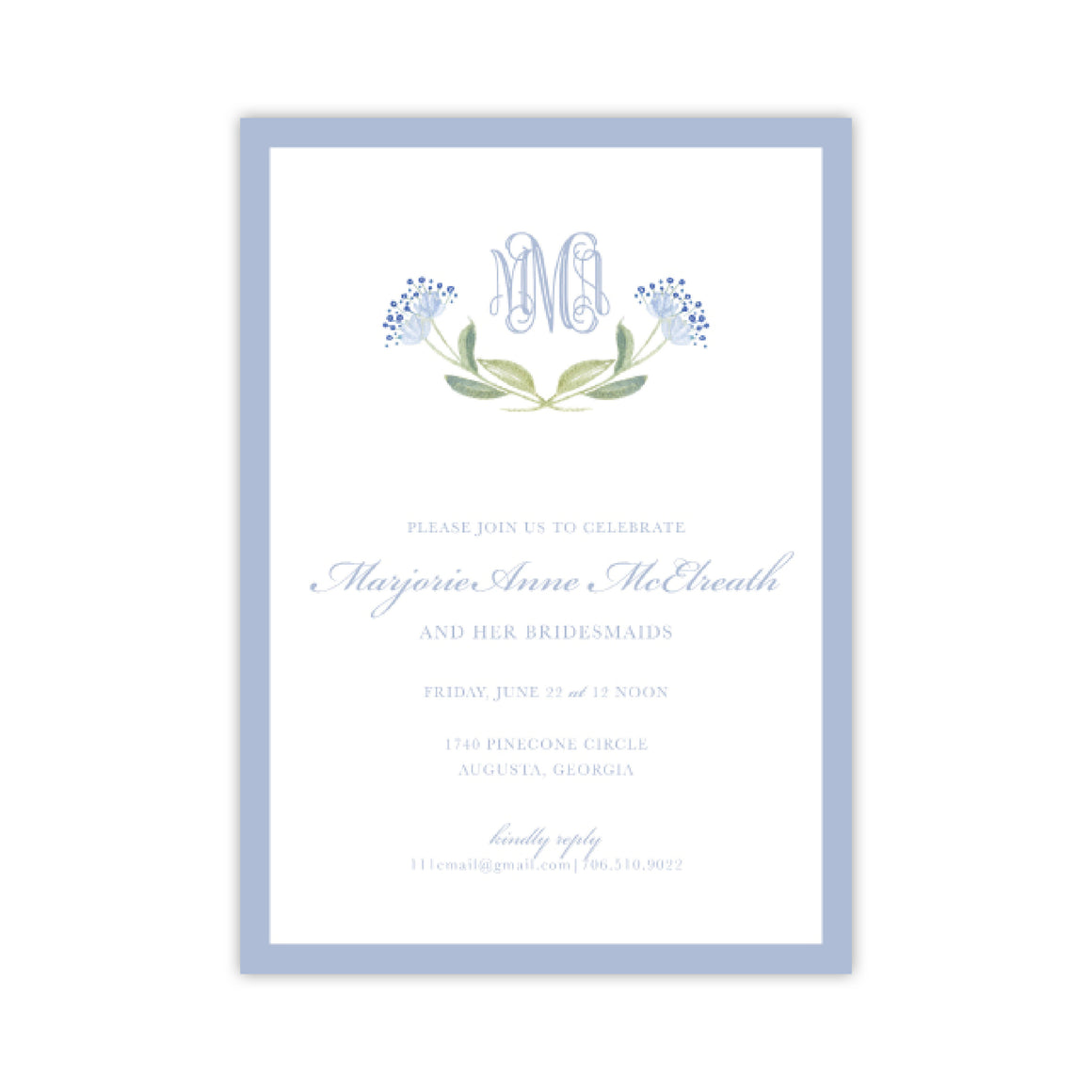 Dainty Flower Monogram Invitation