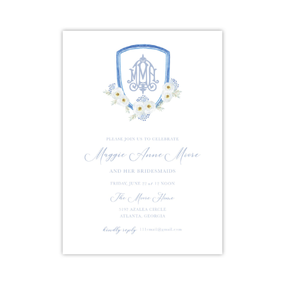 White and Blue Flower Crest Invitation