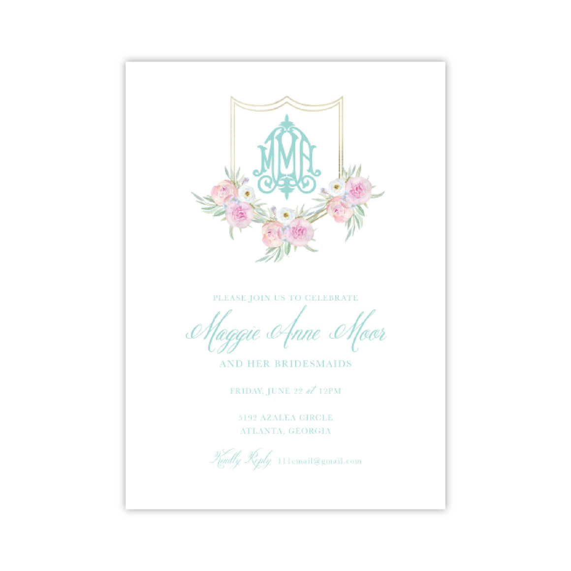 Pink Flower Crest Wedding Shower Invitation