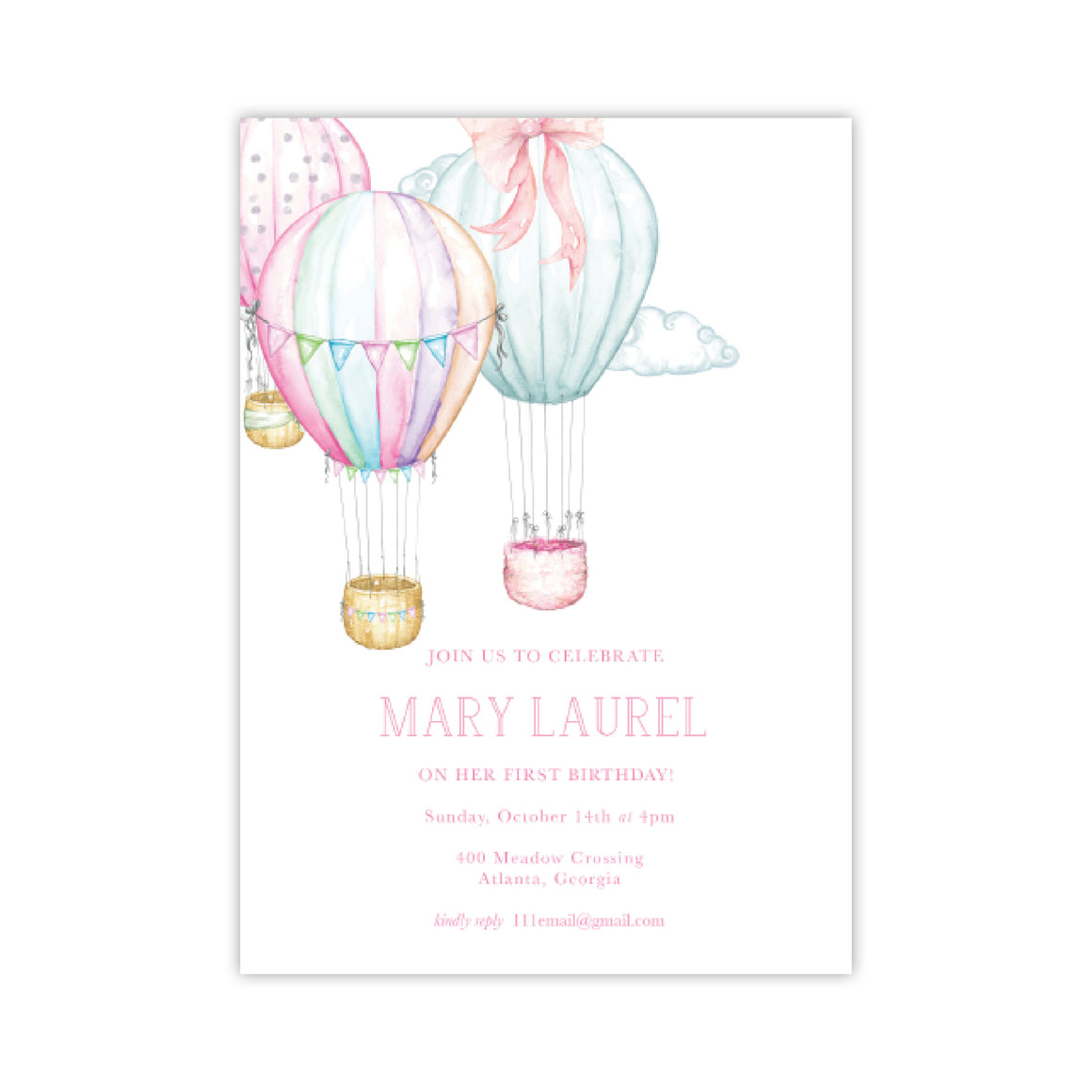 Hot Air Balloons Birthday Party Invitation