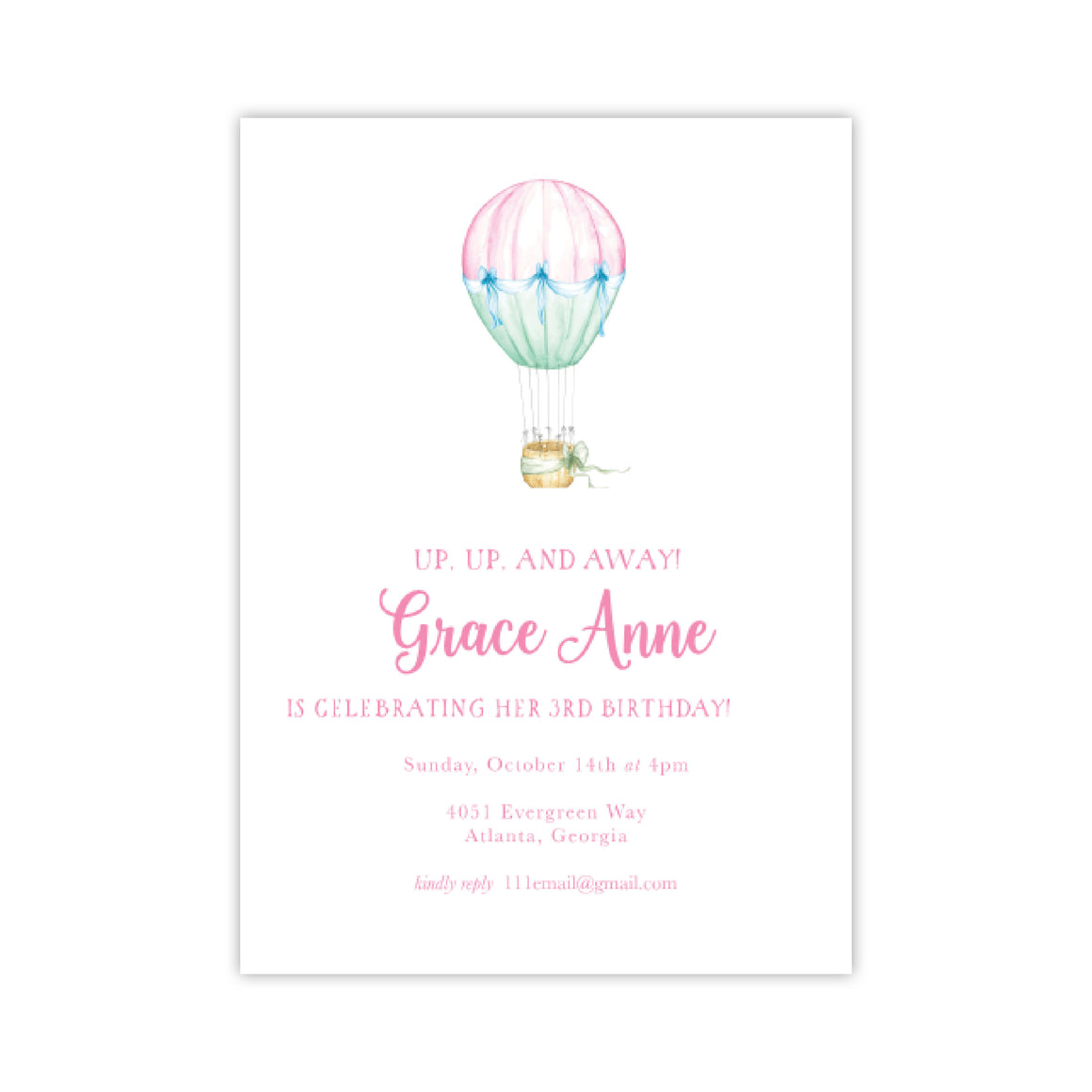 One Hot Air Balloons Birthday Party Invitation