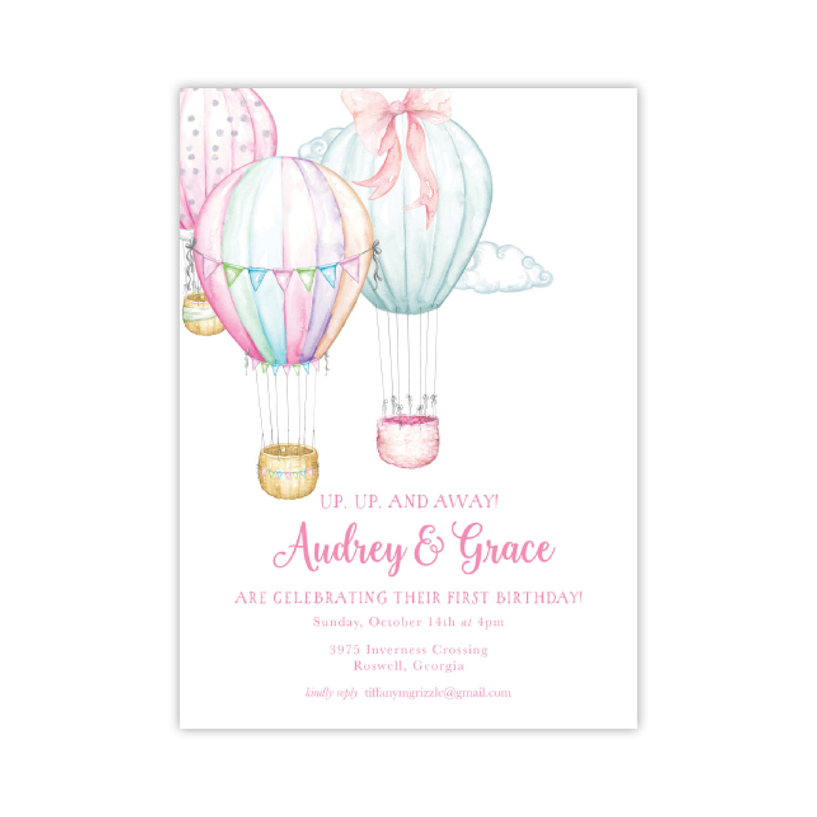 Watercolor Hot Air Balloons Birthday Party Invitation
