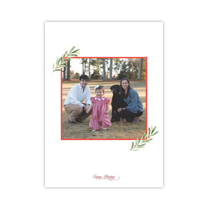 Large Watercolor Wreath Holiday Card