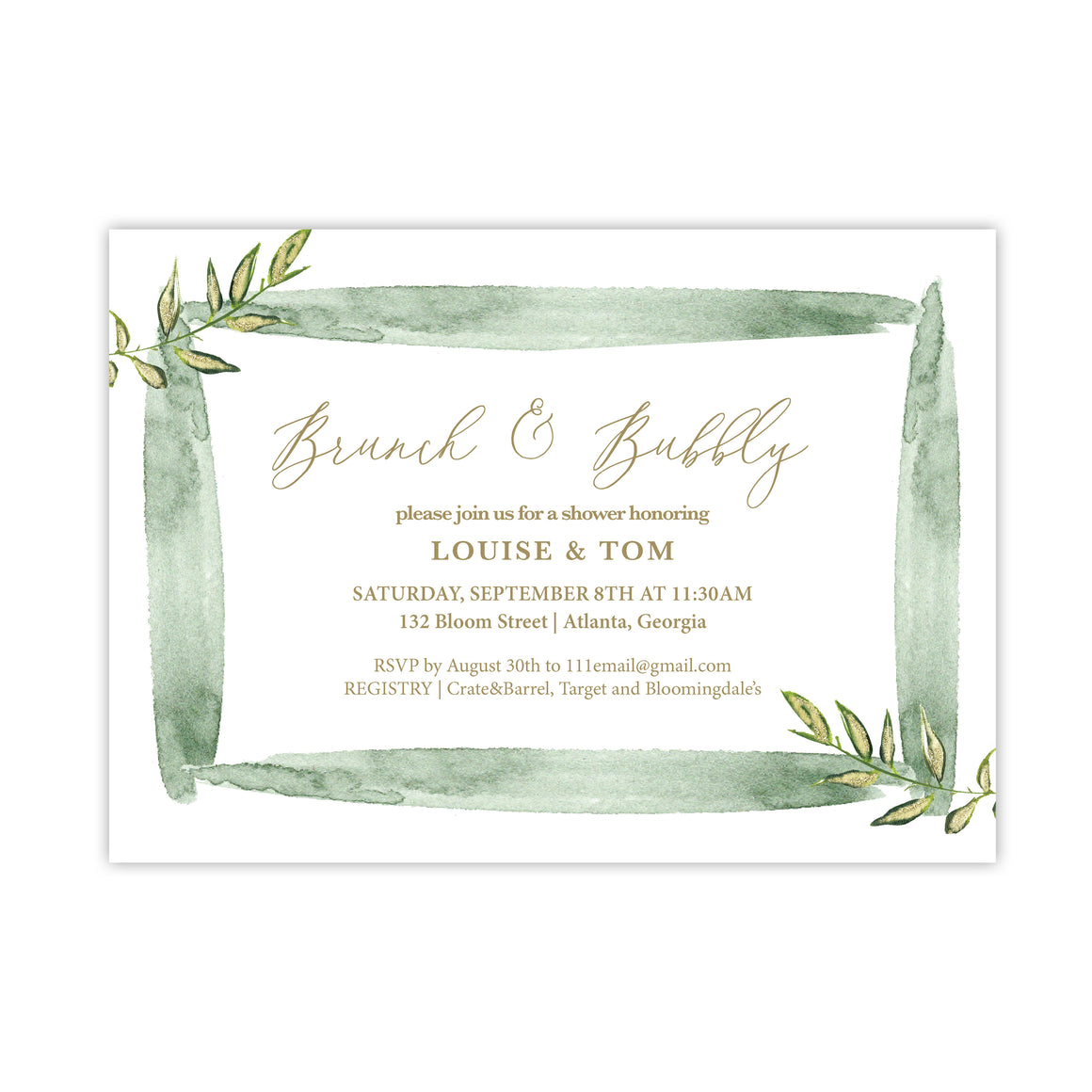 Watercolor Brush Invitation